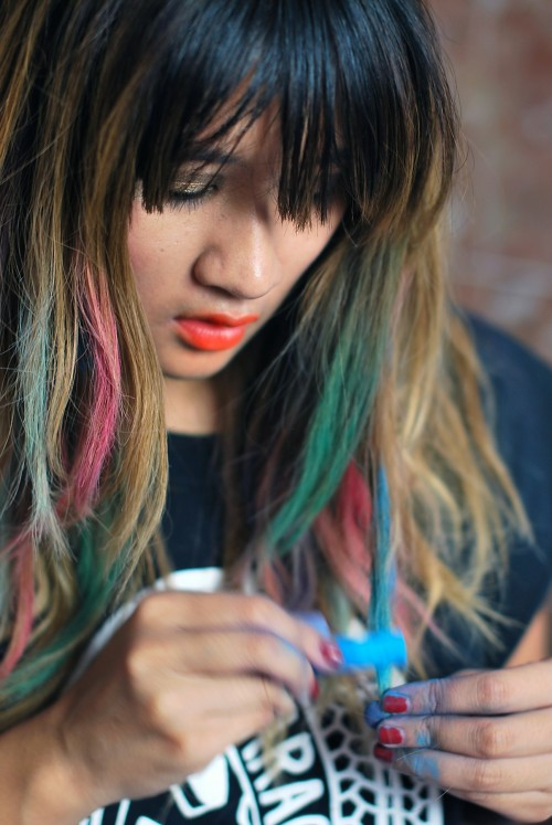 Hair Chalking multicolor