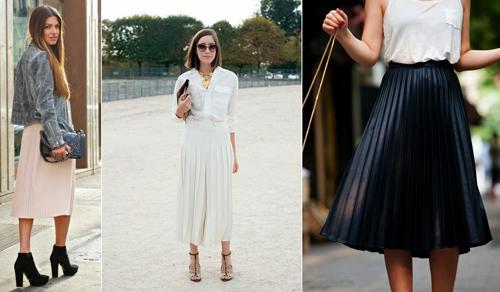 falda midi en diferentes estilos