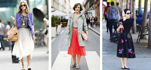 combinaciones falda midi
