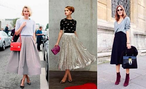 estilos falda midi