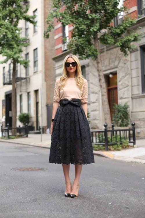falda midi estilo romántico