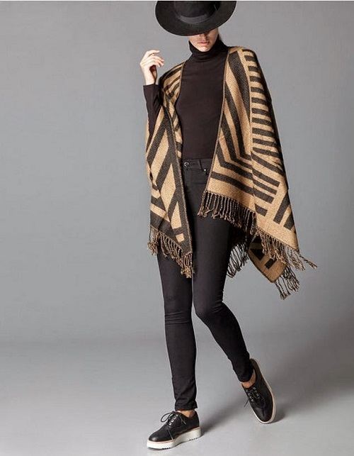 stradivarius capa manta look camel