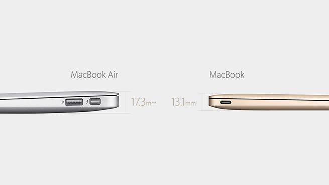 Comparación entre el grosor de los nuevos MacBook de Apple y la línea MacBook Air, hasta ahora la más delgada de la firma.