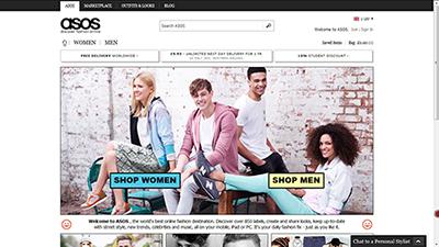 asos interfaz web online shopping moda belleza complementos