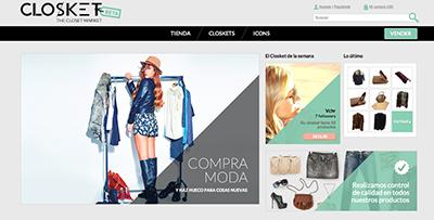 closket interfaz pagina web online shopping compras internet moda accesorios