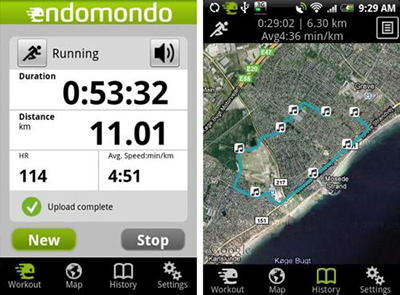 endomondo interfaz app running deporte salud smartphone android tablet