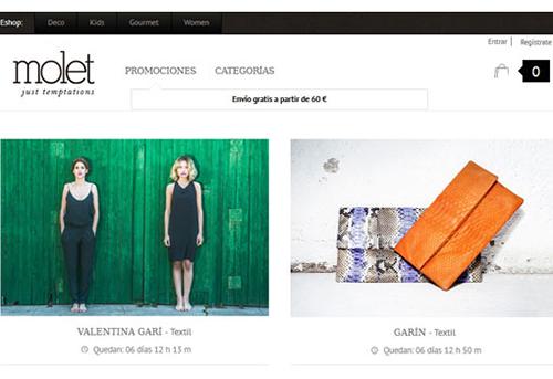 molet interfaz web tienda online compra moda accesorios venta temporal