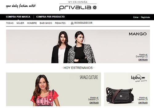 privalia interfaz online shopping compras internet moda accesorios