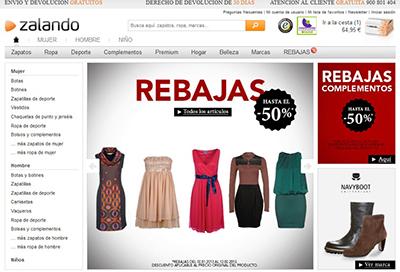 zalando interfaz moda accesorios zapatos online shopping compras internet