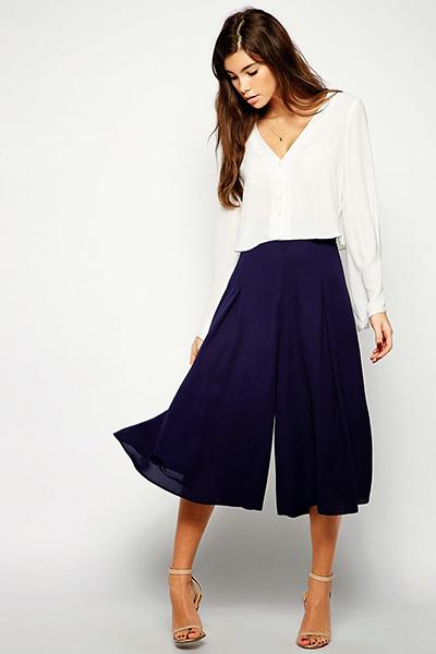 culotte pantalones pernera ancha tendencias moda 2015