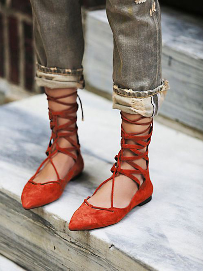 lace up flats tendencias calzado zapatos 2015