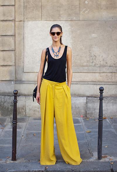 pantalones palazzo amarillos tendencias primavera verano moda 2015